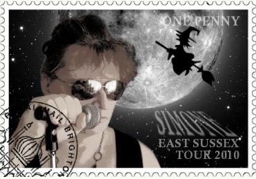 """Fotomontage Simone auf Tour bei den """"Hexen von East Sussex"""""""