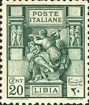 Die libysche Sibylle auf einer italienischen Briefmarke