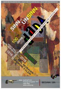 Poster für die Veranstaltung Sinn im Unsinn im Rahmen der Nacht der Philosophie 2016